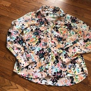 Express portofino button down pink floral top